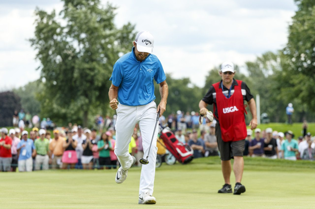 Curtis Luck reacts after making his putt on the 25th hole during final round of match play at the 2016 U.S. Amateur at Oakland Hills Country Club in Bloomfield Hills, Mich. on Sunday, Aug. 21, 2016. (Copyright USGA/Jeff Haynes)