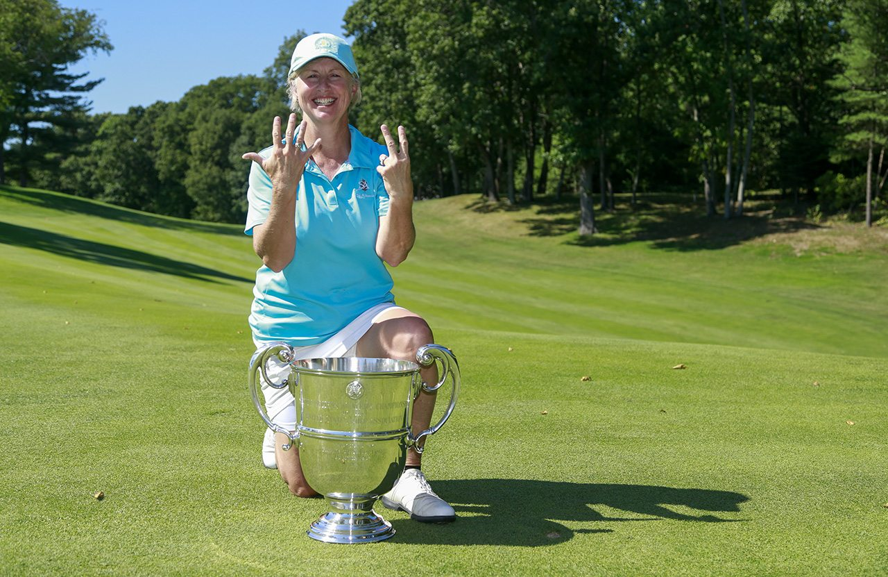 Ellen Port holding her fingers showing how many times she has won after the final round of match play at the 2016 U.S. Senior Women's Amateur at Wellesley Country Club in Wellesley, Mass. on Thursday, Sept. 22, 2016. (Copyright USGA/Matt Sullivan)