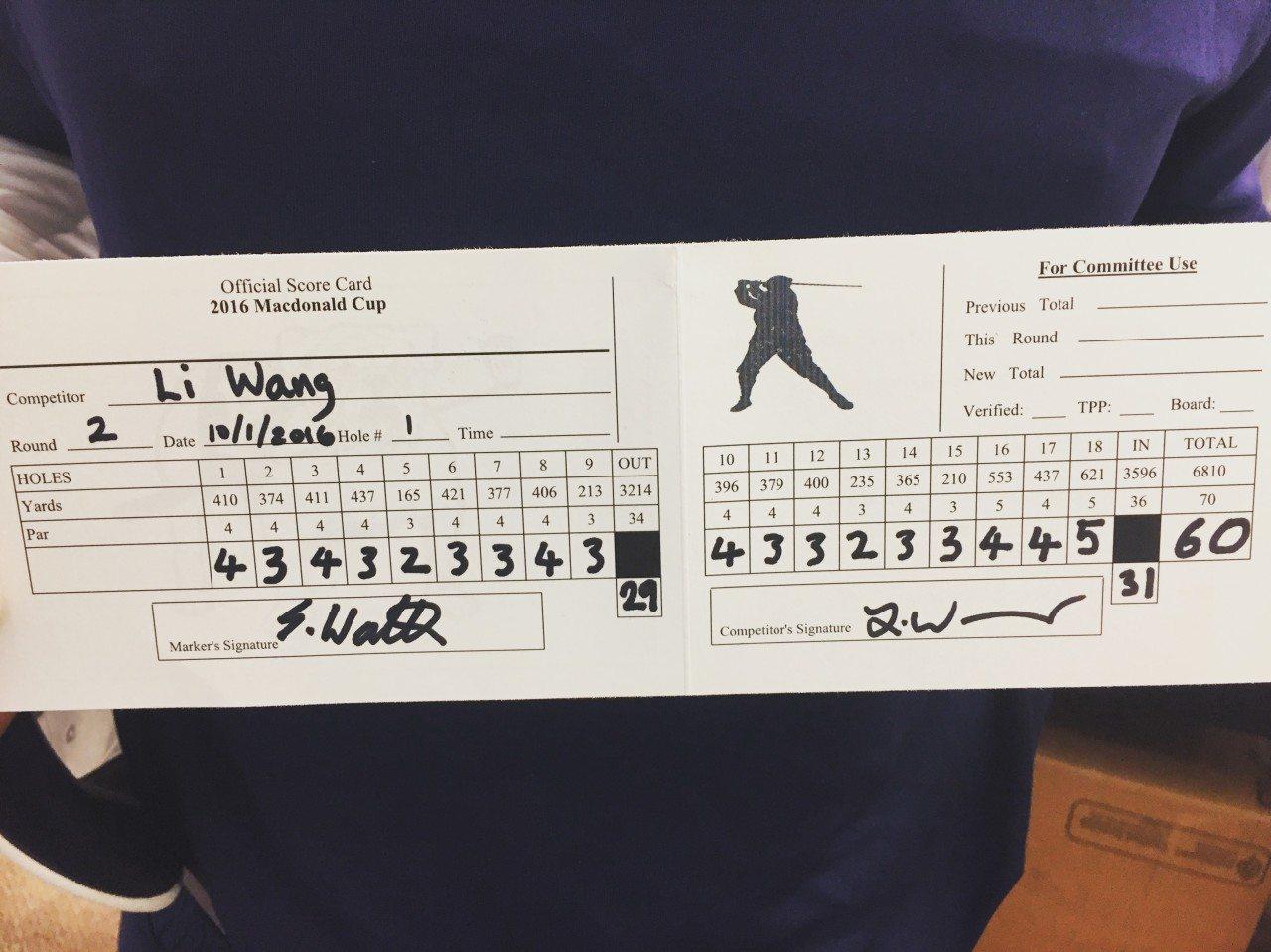 Wang's historic scorecard