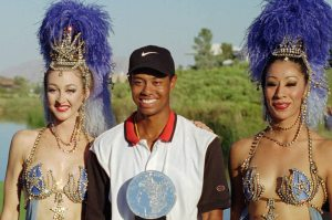 Tiger Woods, pictured after his victory at the 1996 Las Vegas Invitational, his first win as a pro on the PGA Tour