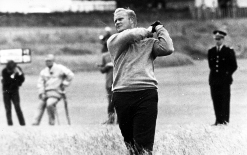 Jack Nicklaus hits from the rough at the 10th hole in the second round of the British Open Golf Championship at Muirfield Edinburgh, Scotland, on July 7, 1966. (AP)