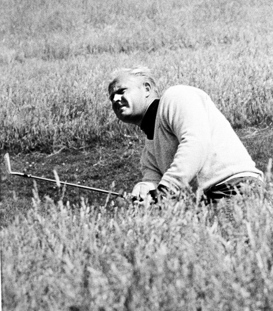 American golfer Jack Nicklaus hits from the deep rough in the third round of the British Open Championship at Muirfield, Edinburgh, Scotland, on July 8, 1966. (GOLFWEEK FILE)