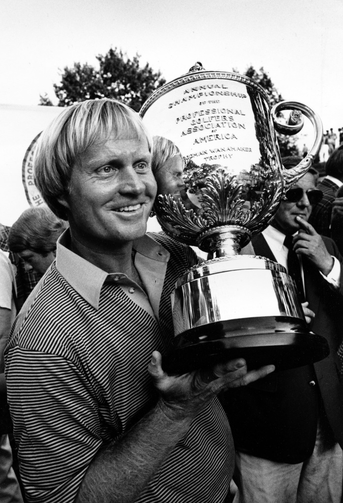 Jack Nicklaus poses with the 1980 PGA Championship trophy at Oak Hill Country Club in Rochester, N.Y. (AP)