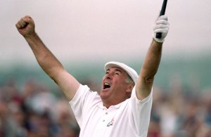 Christy O'Connor celebrates victory in the 2000 British Senior Open at the Royal County Down Golf Club.