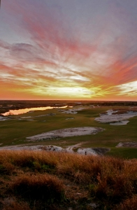 A view from No. 1 Blue teebox looking over the fairway and No. 18 Blue fairway at Streamsong Golf Course.