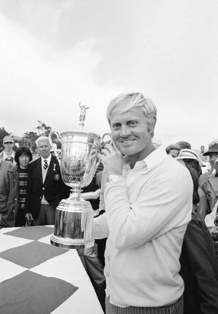Jack Nicklaus holds the trophy emblematic of his victory in the U.S. Open golf tournament at Pebble Beach, Calif., June 18, 1972, where he won the second leg of his goal of capturing professional golf's grand slam.