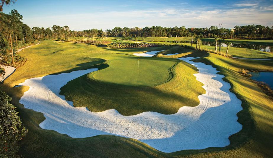 The par-3 11th hole at Waldorf Astoria Golf Club