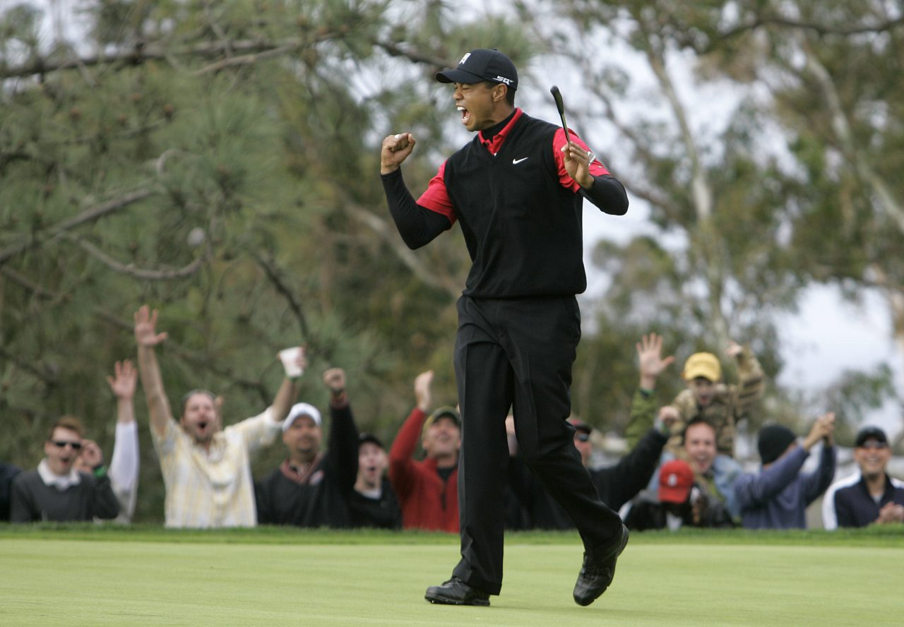 Tiger Woods and the gallery celebrate his birdie on the 11th hole of South Course at Torrey Pines during the final round of the Buick Invitational golf tournament, Sunday, Jan. 27, 2008 in San Diego. (AP Photo/Chris Park)