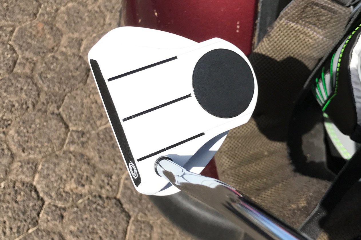Daniel Berger's new Odyssey putter with custom line design (JeffBabineau)
