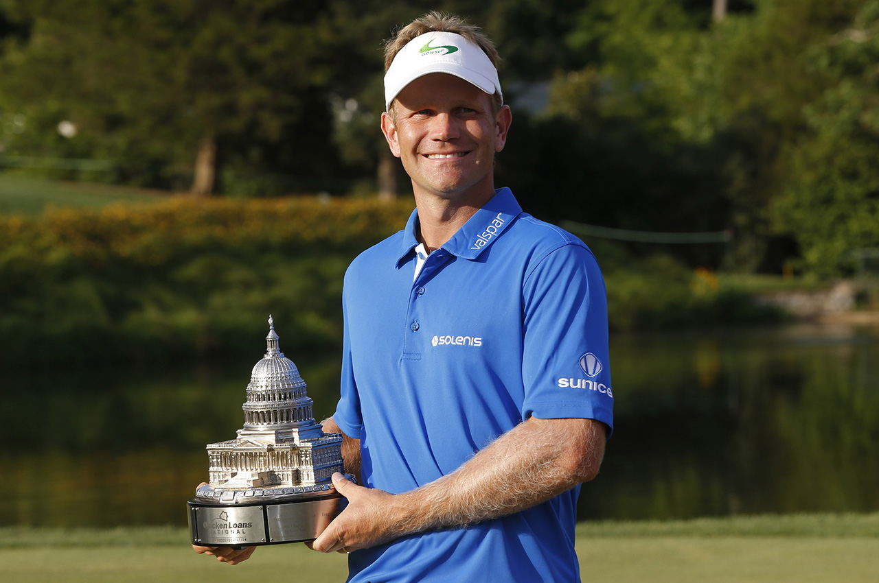 Billy Hurley III, pictured after his victory at the 2016 Quicken Loans National (Geoff Burke-USA TODAY Sports)