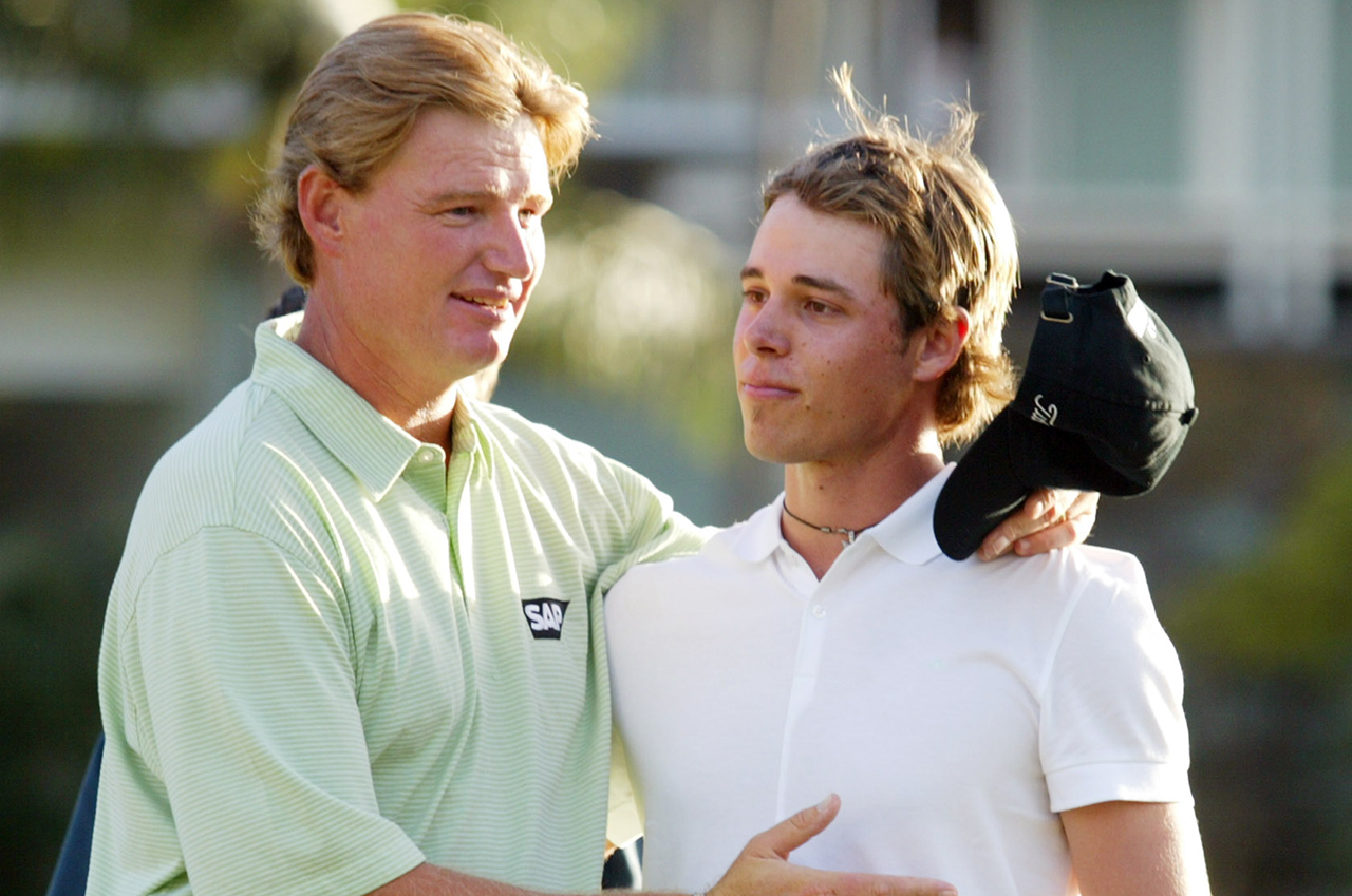 Ernie Els and Aaron Baddeley duked it out at the 2003 Sony Open. (Associated Press)