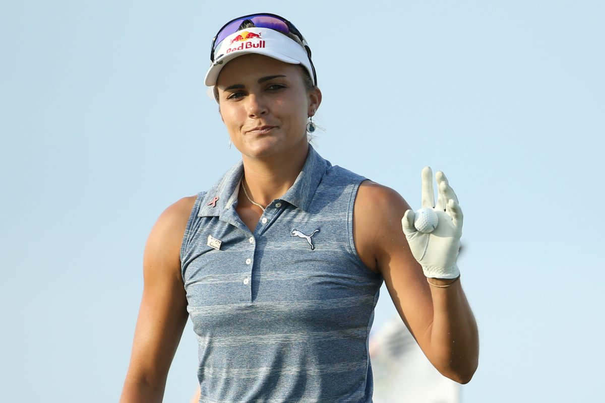PARADISE ISLAND, BAHAMAS - JANUARY 27: Lexi Thompson of the United States acknowledges fans on the eighth green during round two of the Pure Silk Bahamas LPGA Classic on January 27, 2017 in Paradise Island, Bahamas. (Photo by Maddie Meyer/Getty Images)