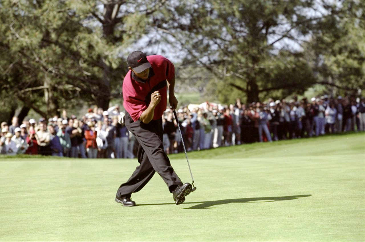 14 Feb 1999: Tiger Woods cheers as his ball sinks into the hole during the Buick Invitational at the Torrey Pines Golf Course in La Jolla, California. Mandatory Credit: Jon Ferry /Allsport