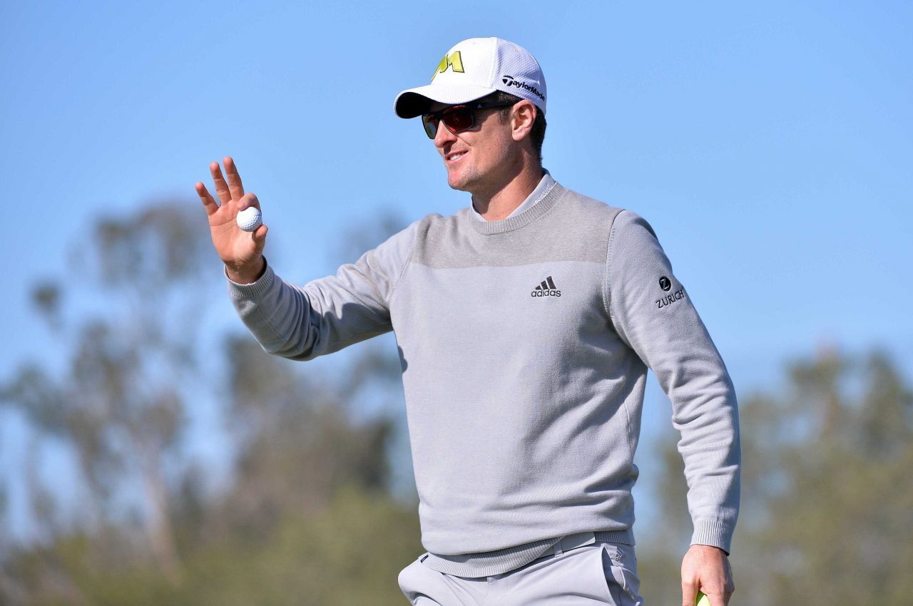 Jan 26, 2017; La Jolla, CA, USA;  Justin Rose waves to the crowd following the 9th hole during the first round of the Farmers Insurance Open golf tournament at Torrey Pines Municipal Golf Course. Mandatory Credit: Orlando Ramirez-USA TODAY Sports