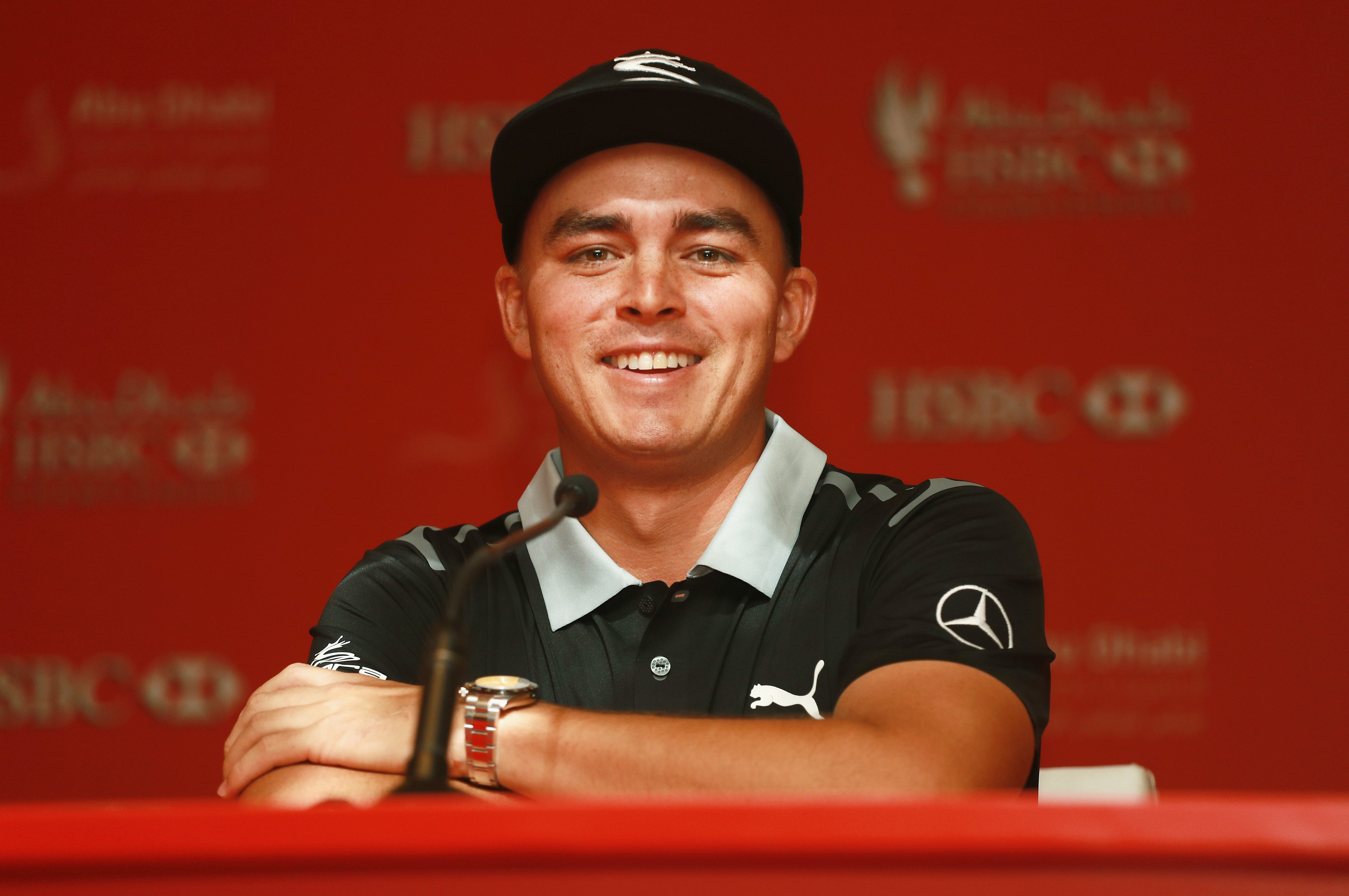 ABU DHABI, UNITED ARAB EMIRATES - JANUARY 17: Rickie Fowler of the United States speaks with the media prior to the start of the Abu Dhabi HSBC Championship at Abu Dhabi Golf Club on January 17, 2017 in Abu Dhabi, United Arab Emirates. (Photo by Scott Halleran/Getty Images)