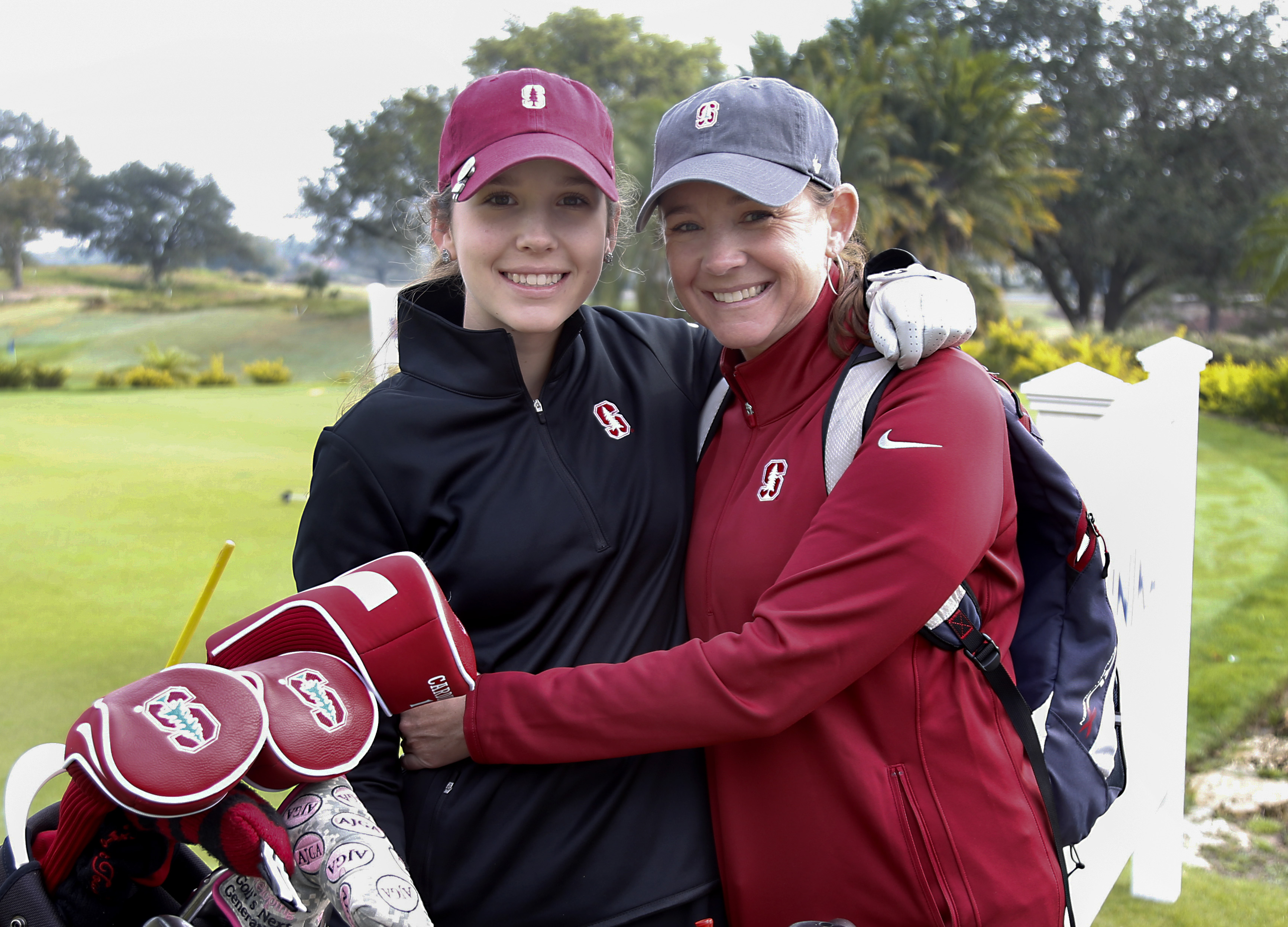 Feb 18, 2017; Reunion, FL, USA;  Racheal Heck (left) poses with her mother during the 2017 ANNIKA Intercollegiate NCAA women's golf tournament Presented by 3M . Mandatory Credit: Reinhold Matay-USA TODAY Sports
