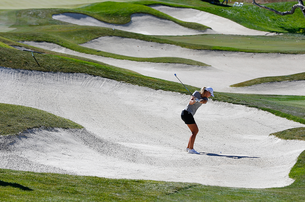 Anna Nordqvist hits out of a bunker during a three-hole playoff against Brittany Lang at the 2016 U.S. Women's Open at CordeValle Golf Club. Nordqvist inadvertently grounded her club and took a two-shot penalty. (Getty Images/Jonathan Ferrey)