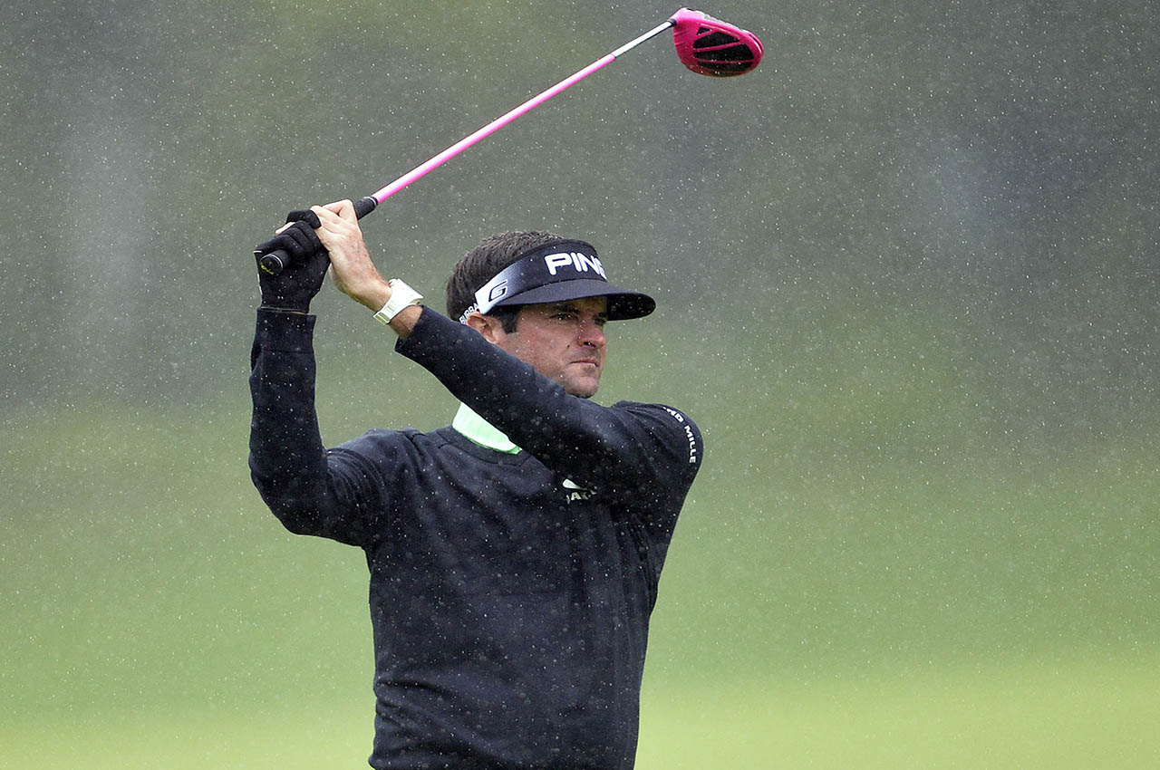 February 17, 2017; Pacific Palisades, CA, USA; Bubba Watson hits from the seventeenth hole fairway during the second round of the Genesis Open golf tournament at Riviera Country Club. Mandatory Credit: Gary A. Vasquez-USA TODAY Sports