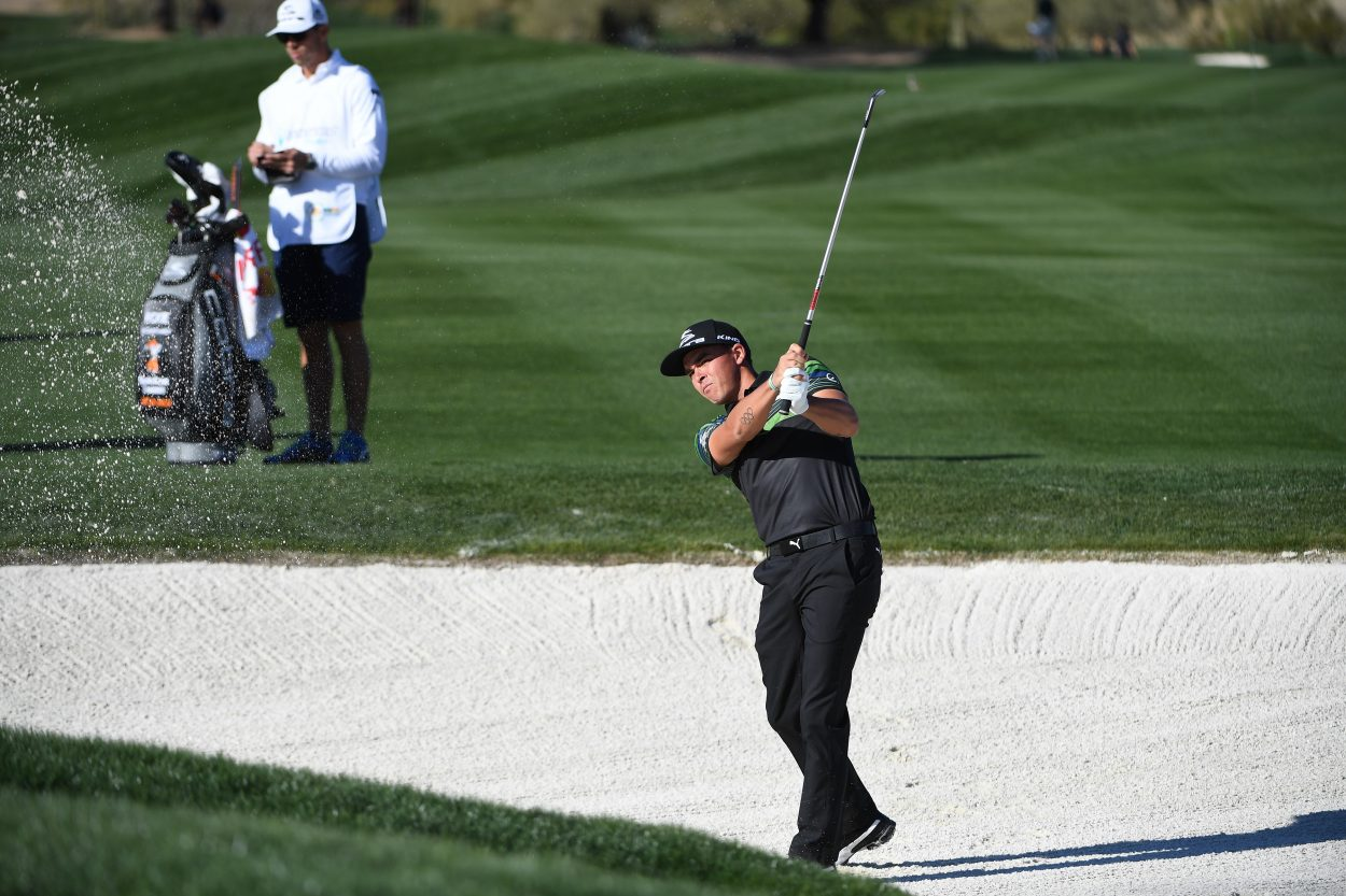 SCOTTSDALE, AZ - FEBRUARY 01: Rickie Fowler plays his second shot on the 6th hole during the Pro Am prior to the Waste Management Phoenix Open, at TPC Scottsdale on February 1, 2017 in Scottsdale, Arizona. (Photo by Chris Condon/PGA TOUR)