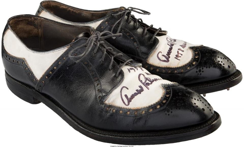 The FootJoy golf shoes that Arnold Palmer won during his 1958 Masters victory. (Photo courtesy of Heritage Auctions)