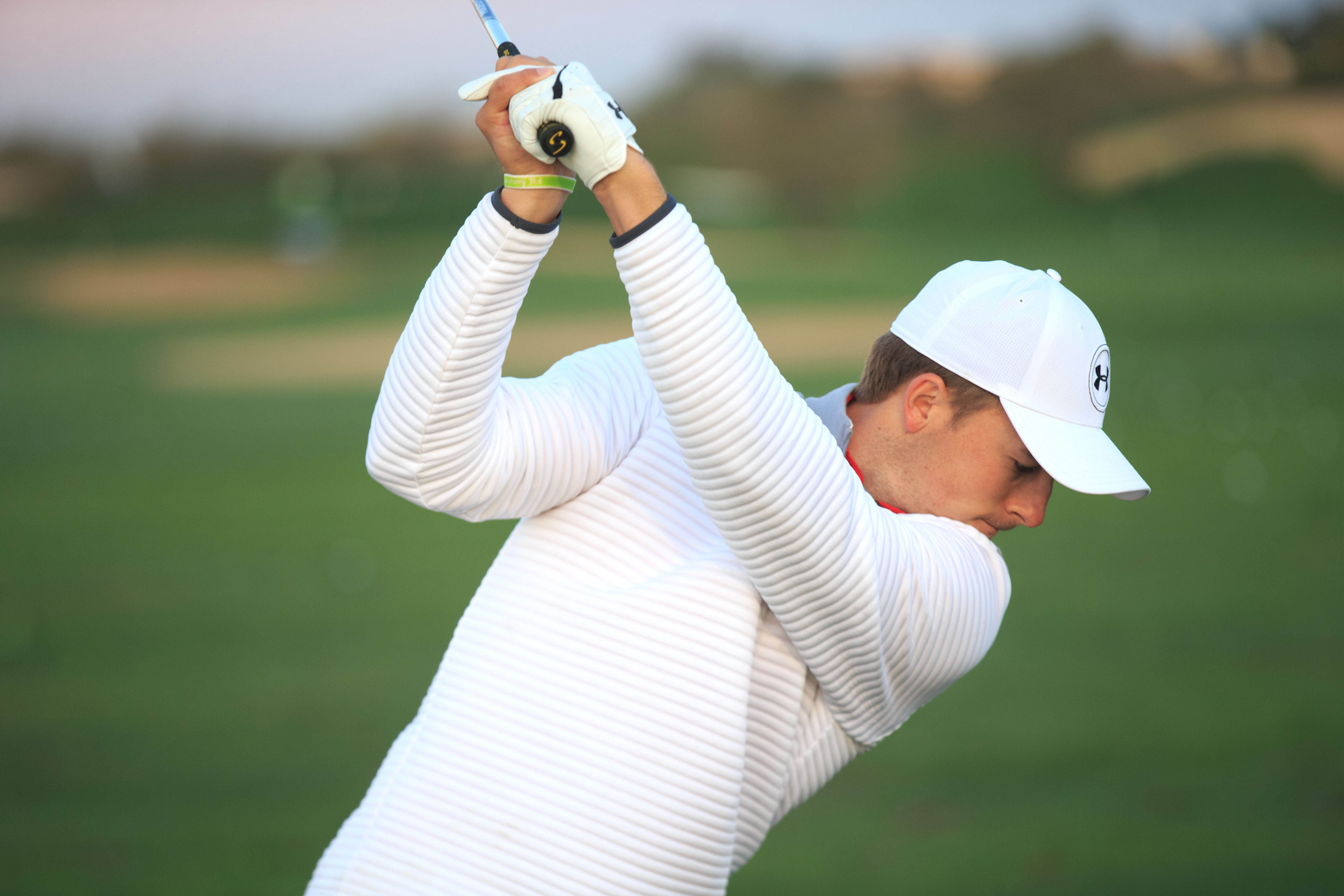 Feb 2, 2017; Scottsdale, AZ, USA; Jordan Spieth warms up on the practice range during the first round of the Waste Management Phoenix Open golf tournament at TPC Scottsdale. Mandatory Credit: Allan Henry-USA TODAY Sports