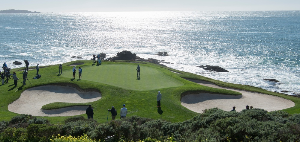 Feb 11, 2017; Pebble Beach, CA, USA; Jordan Spieth walks on the 7th green during the third round of the AT&T Pebble Beach Pro-Am golf tournament at Pebble Beach Golf Links. Mandatory Credit: Michael Madrid-USA TODAY Sports