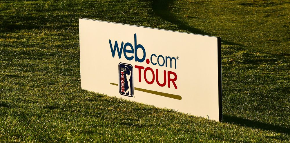 HAYWARD, CA - JULY 29: A sign promoting the Web.com Tour is seen during the second round of the Web.com Tour Ellie Mae Classic at TPC Stonebrae on July 29, 2016 in Hayward, California. (Photo by Ryan Young/PGA TOUR)