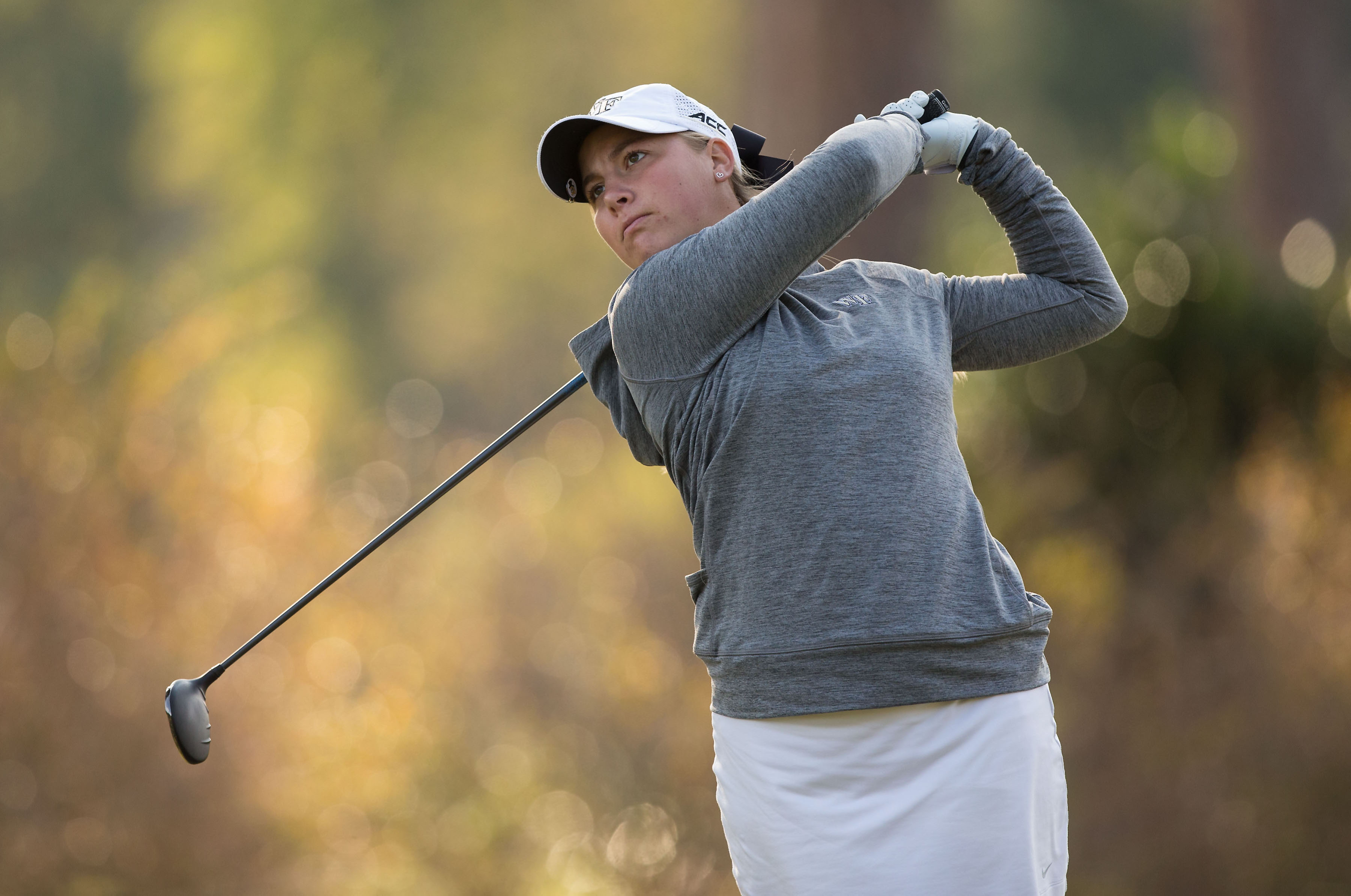 Jennifer Kupcho of the Wake Forest Demon Deacons follows through on a tee shot during first round action at the Ruth's Chris Tar Heel Invitational on October 14, 2016 in Chapel Hill, North Carolina. (Brian Westerholt/Sports On Film)