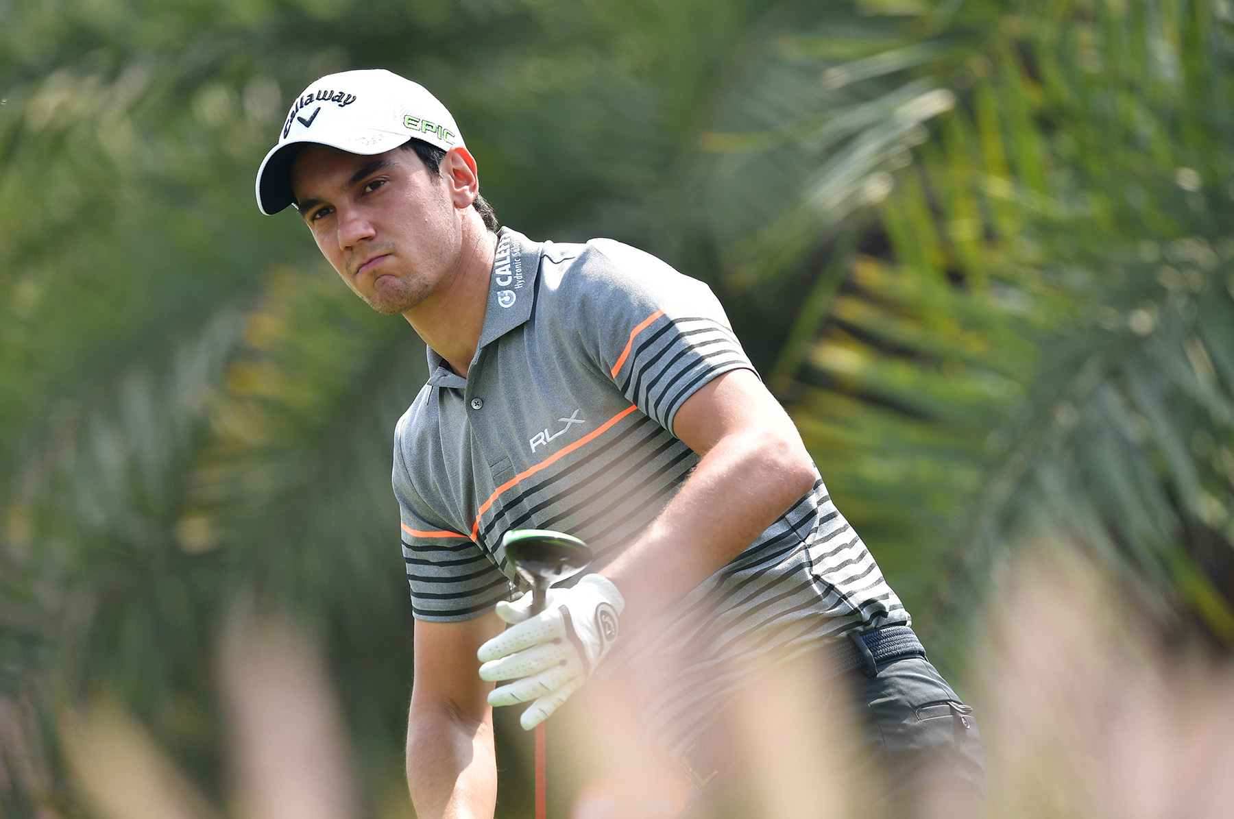 NEW DELHI, INDIA - MARCH 09: Matteo Manassero of Italy watches a shot during the first round of the Hero Indian Open at Dlf Golf and Country Club on March 9, 2017 in New Delhi, India. (Photo by Stuart Franklin/Getty Images)