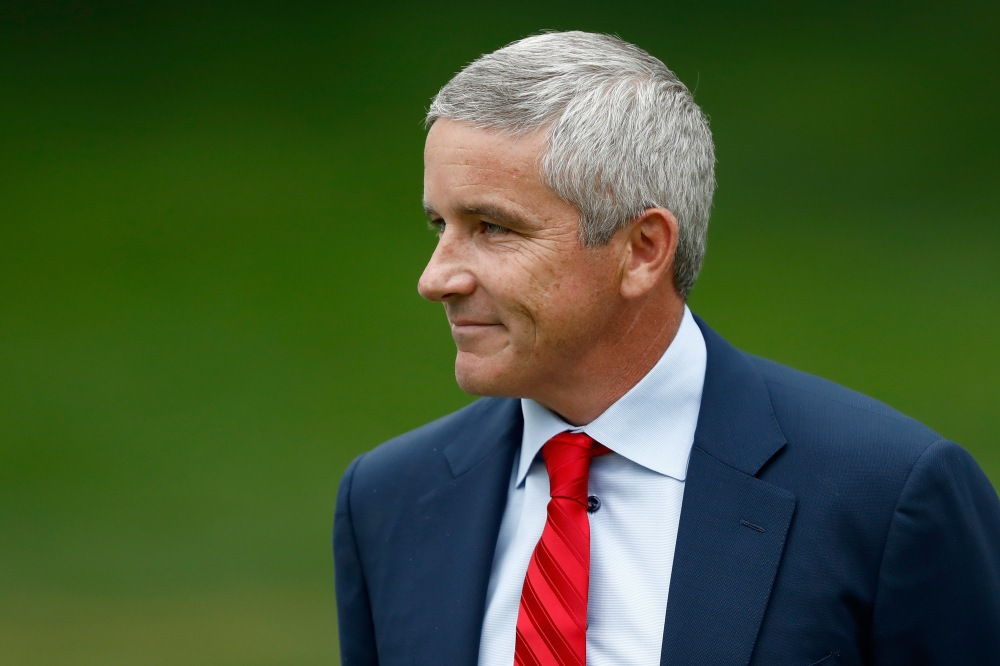 AKRON, OH - AUGUST 06: PGA TOUR commissioner Jay Monahan speaks during the final round of the World Golf Championships - Bridgestone Invitational at Firestone Country Club South Course on August 6, 2017 in Akron, Ohio. (Photo by Sam Greenwood/Getty Images)