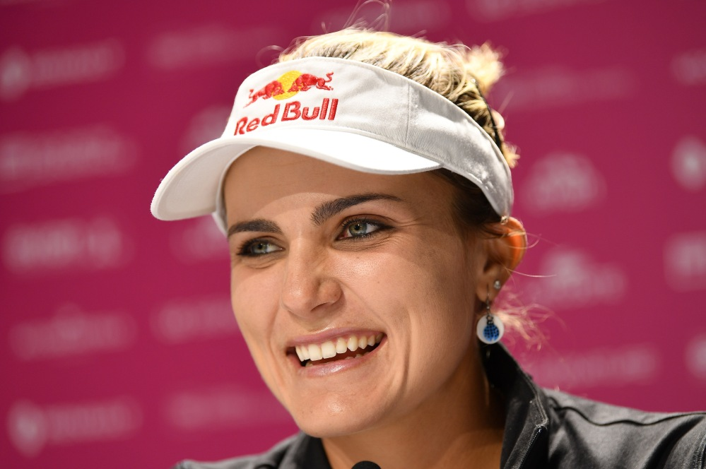 EVIAN-LES-BAINS, FRANCE - SEPTEMBER 12: Lexi Thompson of USA speaks to the media during a press conference prior to the start of The Evian Championship at Evian Resort Golf Club on September 12, 2017 in Evian-les-Bains, France. (Photo by Stuart Franklin/Getty Images)