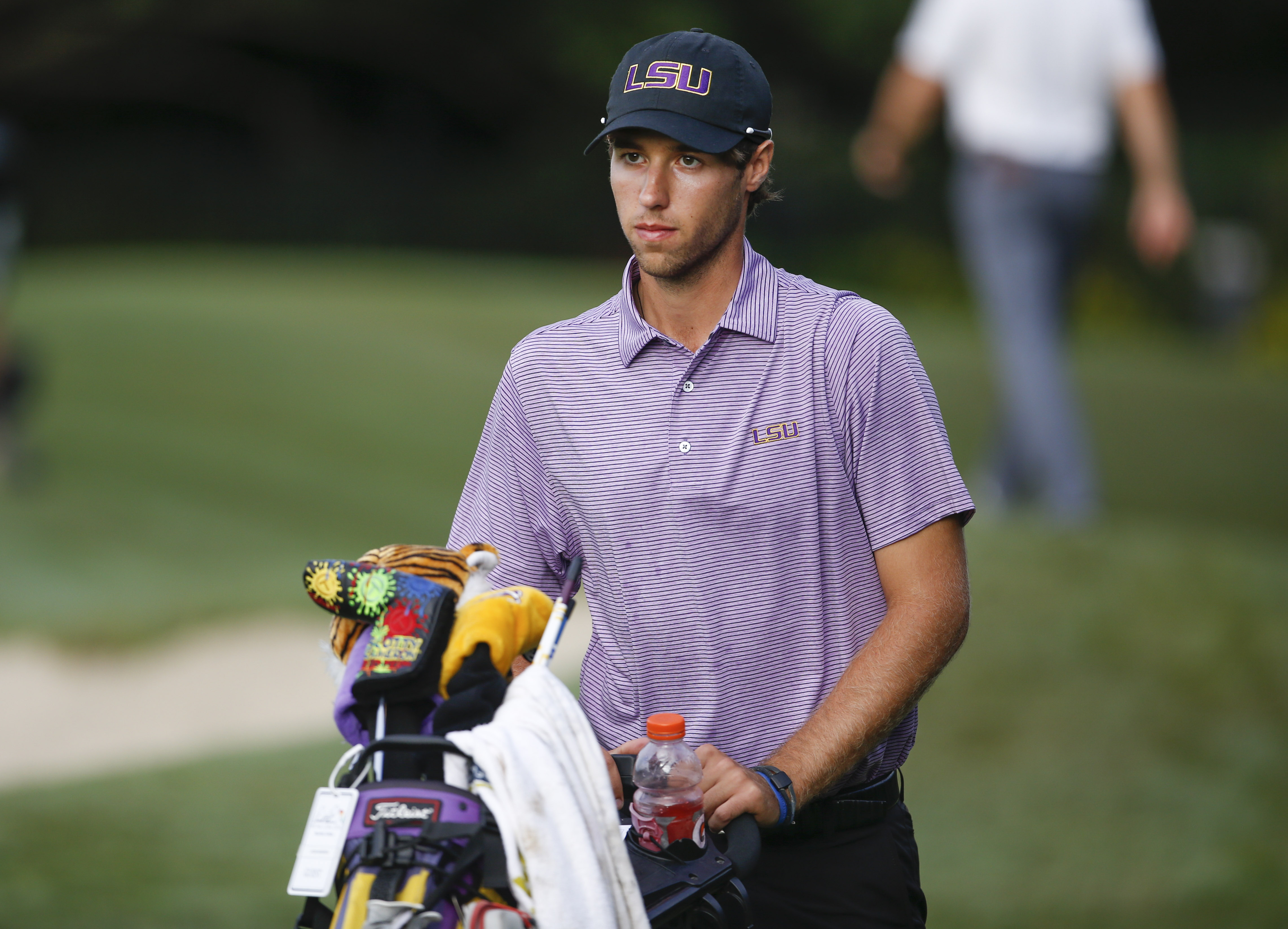 Oct 24, 2017; Windermere, FL, USA; LSU's Jacob Bergeron walks off of the third green during the final round of the Tavistock Collegiate Invitational golf tournament at the Isleworth Country Club. Mandatory Credit: Reinhold Matay-USA TODAY Sports