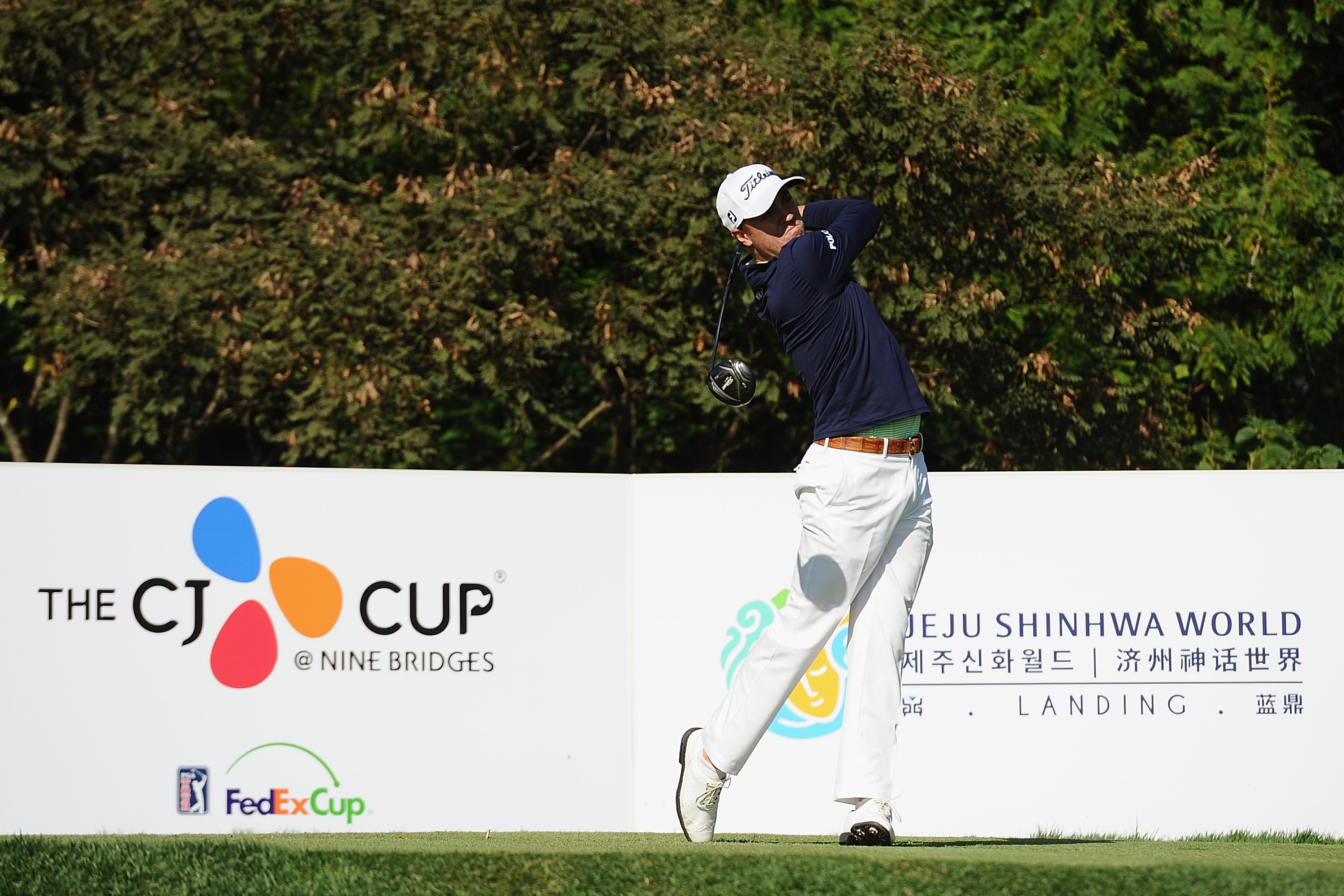 JEJU, SOUTH KOREA - OCTOBER 20: Justin Thomas of the United States hits his tee shot on the 3rd hole during the second round of the CJ Cup at Nine Bridges on October 20, 2017 in Jeju, South Korea. (Photo by Matt Roberts/Getty Images)