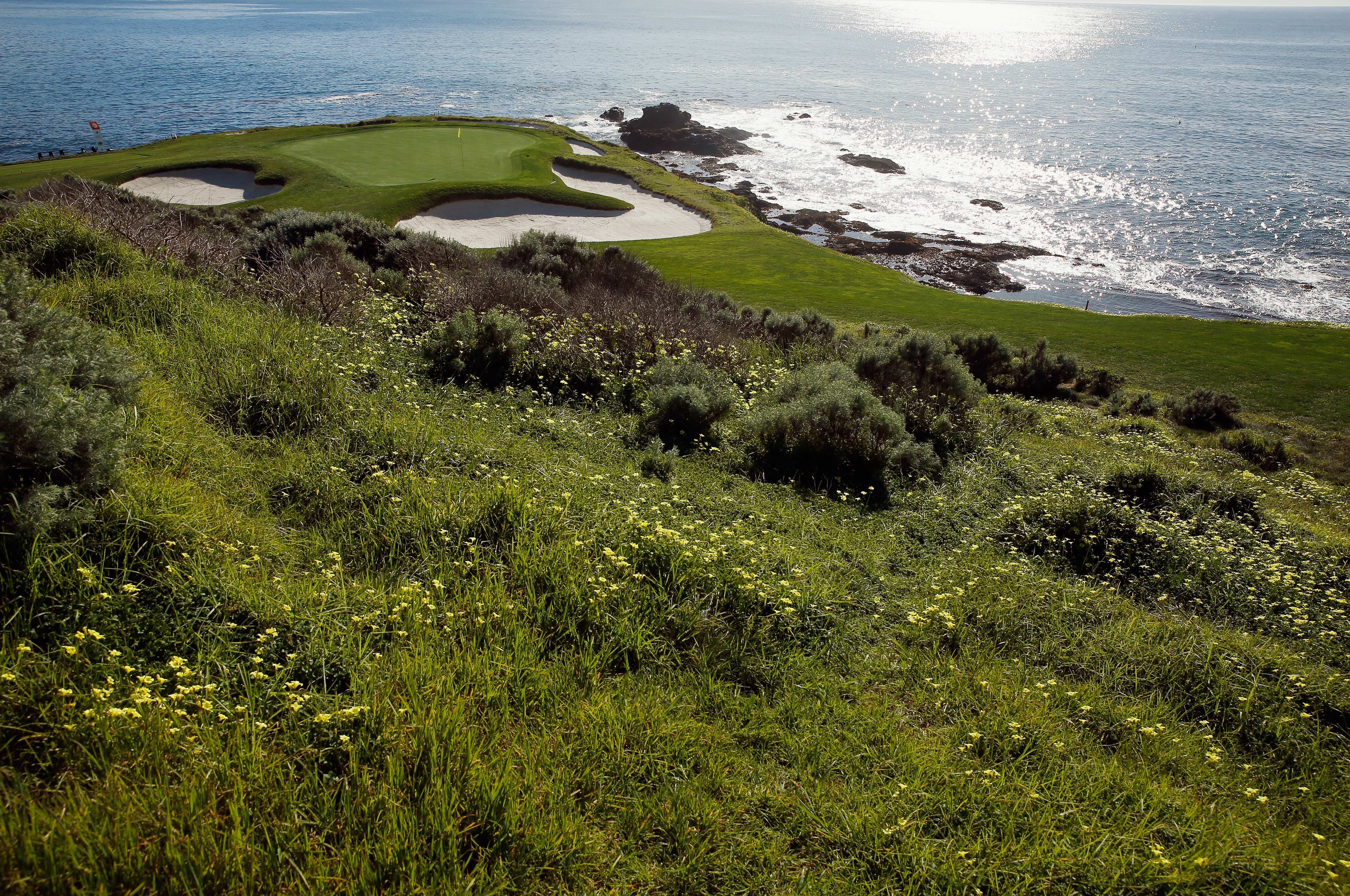 PEBBLE BEACH, CA - FEBRUARY 11: A general view of the seventh hole prior to the start of the AT&T Pebble Beach National Pro-Am at the Pebble Beach Golf Links on February 11, 2015 in Pebble Beach, California. (Photo by Scott Halleran/Getty Images)