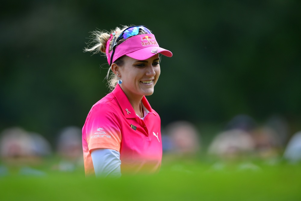 EVIAN-LES-BAINS, FRANCE - SEPTEMBER 16: Lexi Thompson of USA looks on during the second round of The Evian Championship 2017 at Evian Resort Golf Club on September 16, 2017 in Evian-les-Bains, France. (Photo by Stuart Franklin/Getty Images)
