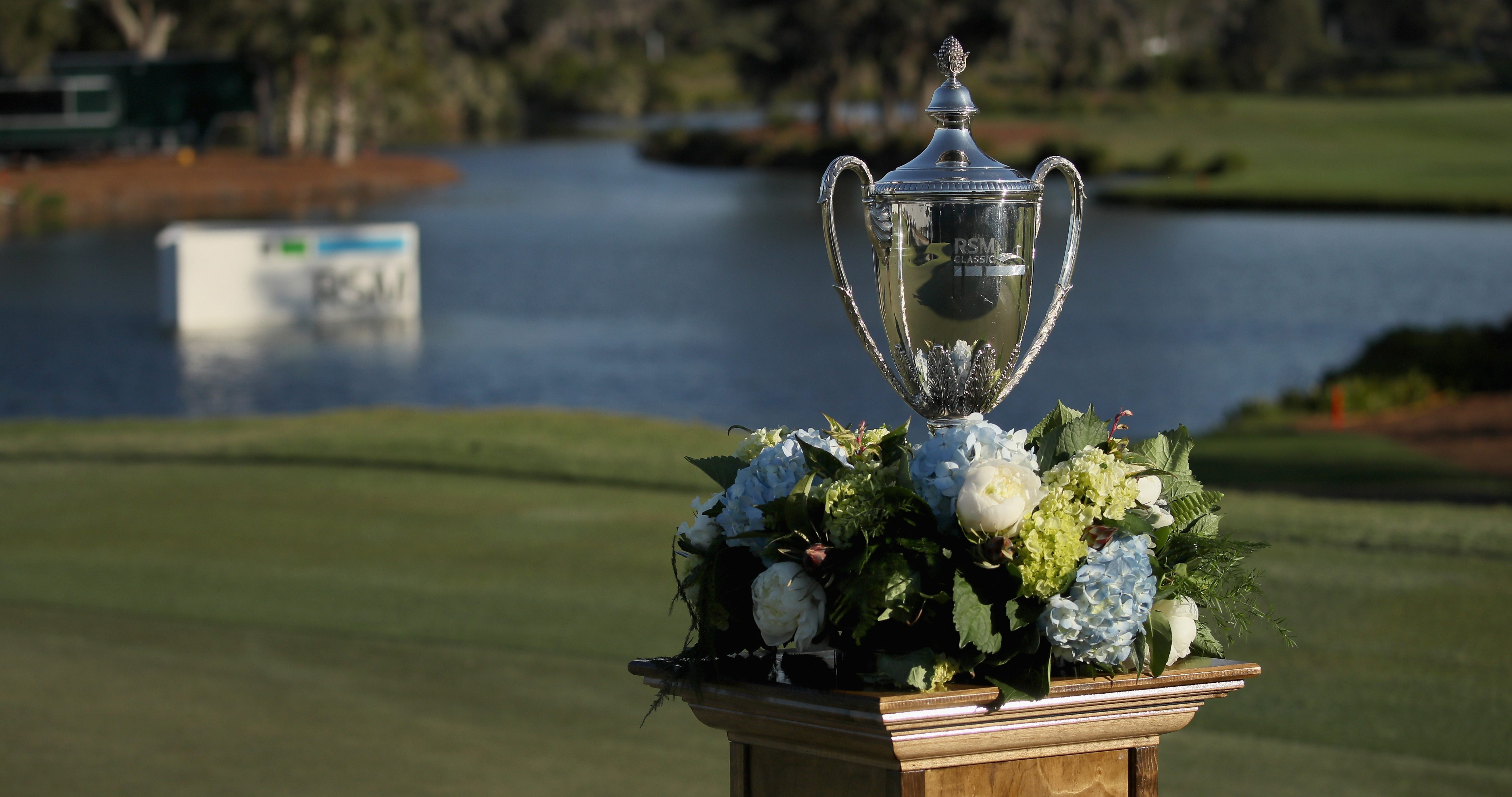 ST SIMONS ISLAND, GA - NOVEMBER 21: A detailed view of Mackenzie Hughes of Canada champions trophy on the 18th green after the playoff in the final round of the RSM Classic at Sea Island Resort Seaside Course on November 21, 2016 in St Simons Island, Georgia. (Photo by Justin Heiman/Getty Images)