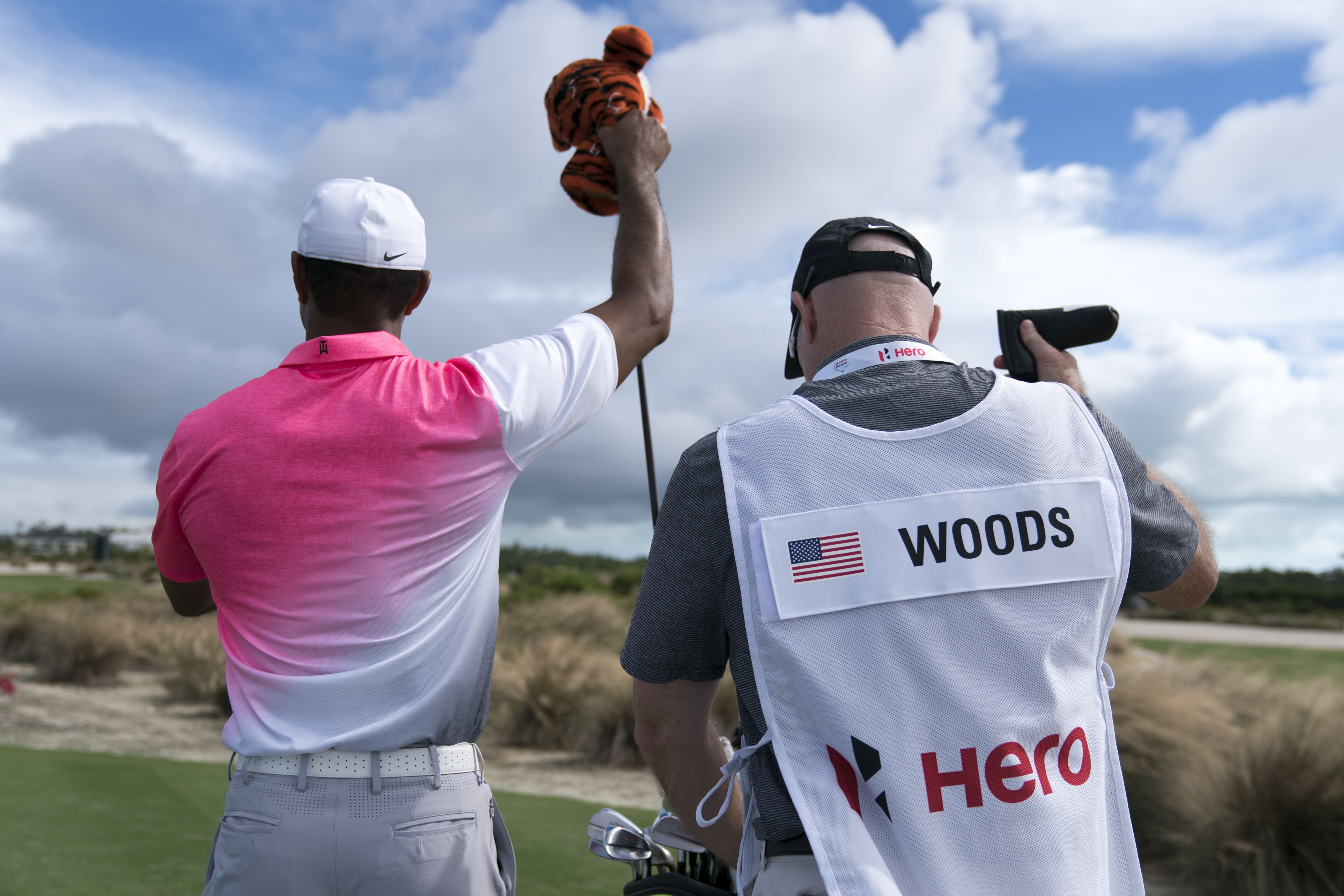 Nov 29, 2017; New Providence, The Bahamas; Tiger Woods pulls out his driver on the 14th hole during a pro-am for the Hero World Challenge golf tournament at Albany. Mandatory Credit: Kyle Terada-USA TODAY Sports