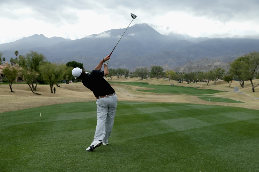 LA QUINTA, CA - JANUARY 22: Brian Harman plays his shot from the 16th tee during the final round of the CareerBuilder Challenge in partnership with The Clinton Foundation at the TPC Stadium Course at PGA West on January 22, 2017 in La Quinta, California. (Photo by Jeff Gross/Getty Images)