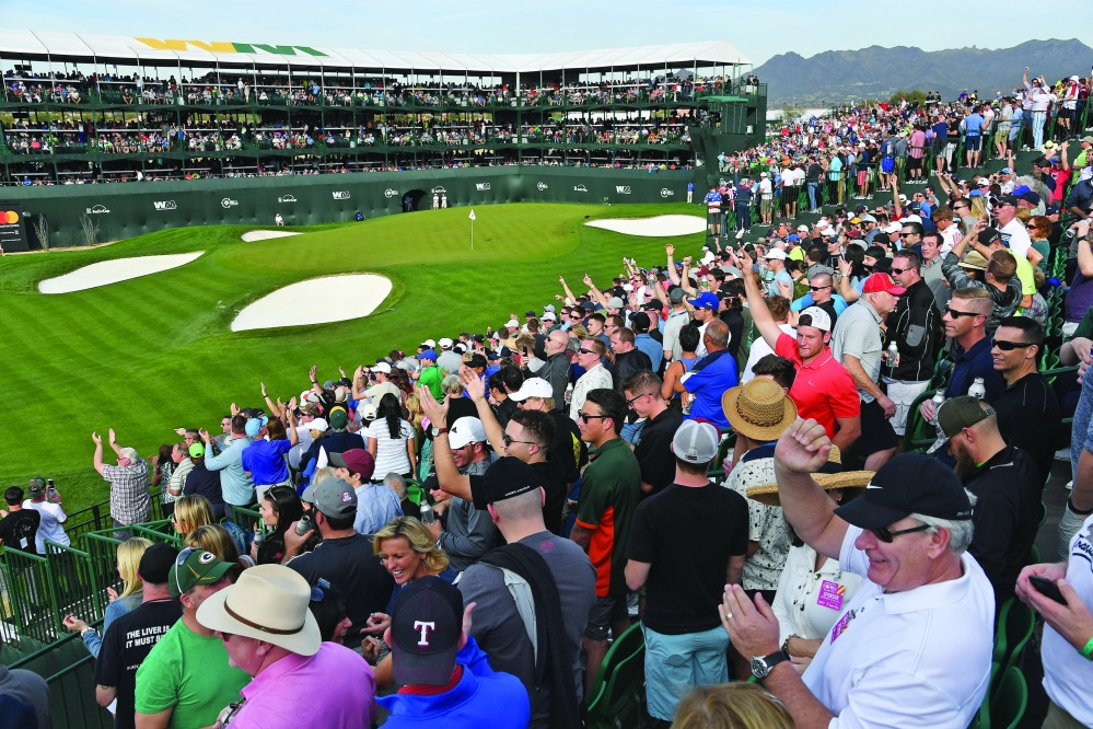 SCOTTSDALE, AZ - FEBRUARY 03: Fans watch the action on the 16th hole during the second round of the Waste Management Phoenix Open, at TPC Scottsdale on February 3, 2017 in Scottsdale, Arizona. (Photo by Chris Condon/PGA TOUR)