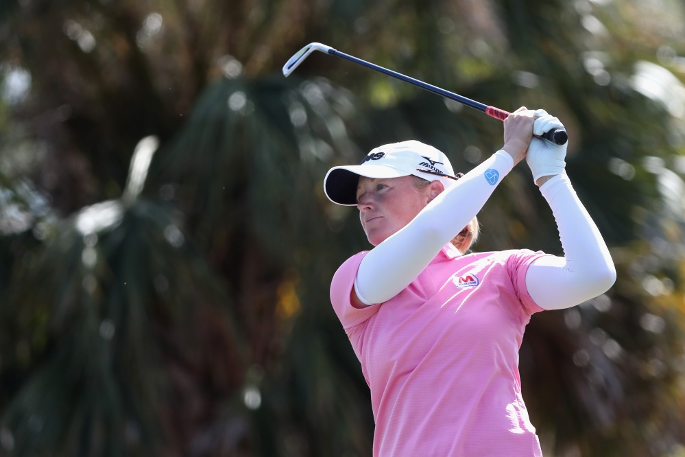 NAPLES, FL - NOVEMBER 18: Stacy Lewis of the United States plays her shot from the 16th tee during round three of the CME Group Tour Championship at the Tiburon Golf Club on November 18, 2017 in Naples, Florida. (Photo by Sam Greenwood/Getty Images)