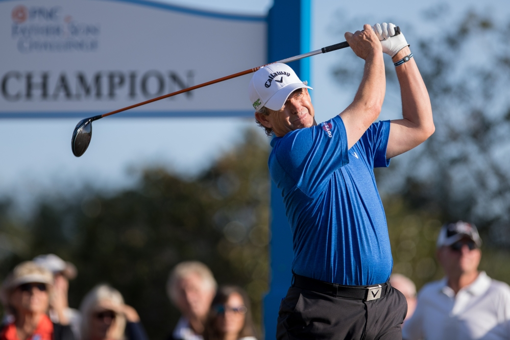 ORLANDO, FL - DECEMBER 17: Lee Janzen hits a tee shot on the first tee during the final round of the PNC Father/Son Challenge at The Ritz-Carlton Golf Club on December 17, 2017 in Orlando, Florida. (Photo by Manuela Davies/Getty Images)