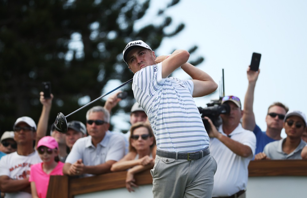 LAHAINA, HI - JANUARY 04: Justin Thomas of the United States plays his shot from the third tee during the first round of the Sentry Tournament of Champions at Plantation Course at Kapalua Golf Club on January 4, 2018 in Lahaina, Hawaii. (Photo by Gregory Shamus/Getty Images)