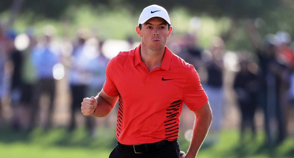 ABU DHABI, UNITED ARAB EMIRATES - JANUARY 20: Rory McIlroy of Northern Ireland celebrates after chipping in for birdie on the 17th hole during round three of the Abu Dhabi HSBC Golf Championship at Abu Dhabi Golf Club on January 20, 2018 in Abu Dhabi, United Arab Emirates. (Photo by Matthew Lewis/Getty Images)