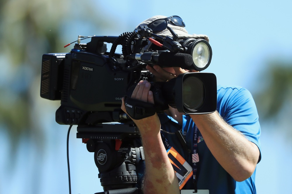 HONOLULU, HI - JANUARY 14: A NBC Golf Channel camera operator is seen during the final round of the Sony Open In Hawaii at Waialae Country Club on January 14, 2018 in Honolulu, Hawaii. (Photo by Sam Greenwood/Getty Images)