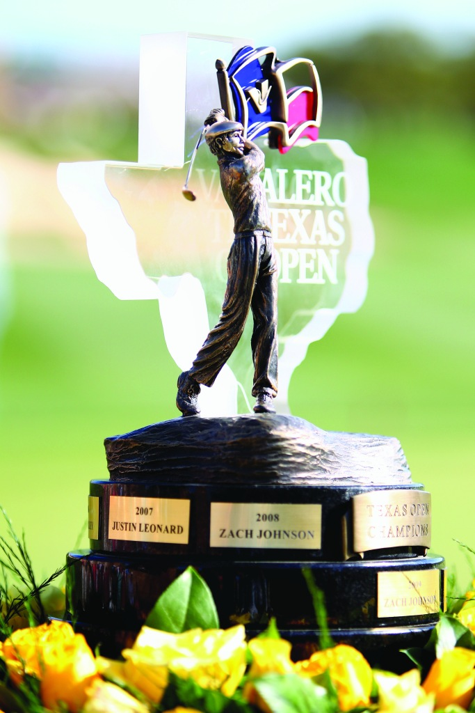 SAN ANTONIO, TX - MARCH 29: The Valero Texas Open trophy is seen on the 18th hole during the final round of the Valero Texas Open at TPC San Antonio AT&T Oaks Course on March 29, 2015 in San Antonio, Texas. (Photo by Marianna Massey/Getty Images)