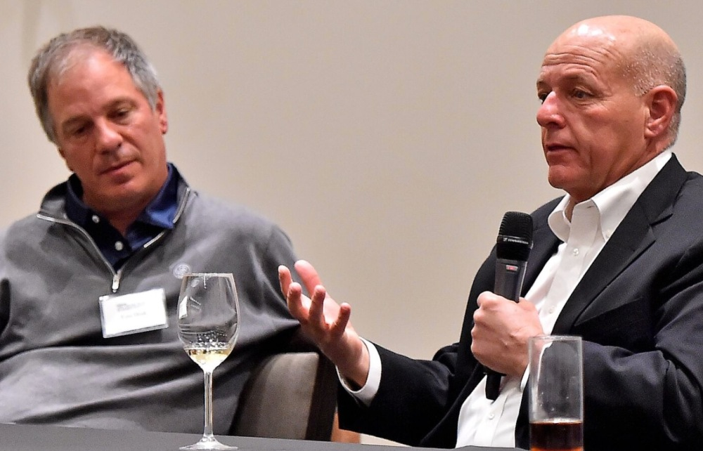 Kyle Phillips (right) shares his thoughts during the 5th Golfweek Architect Summit as Tom Doak listens. (
