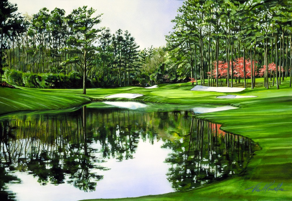 The Academy of Golf Art: Artists of the Game Feb. 24 to May 13, 2018 Credit Lines: Leslie B. DeMille, Phil, 2006. Pastel on canvas. Courtesy of the Estate of Leslie B. DeMille. Noble Powell III, Augusta National Golf Club-#16, c.1993. Casein on waterboard. Courtesy of the Artist.