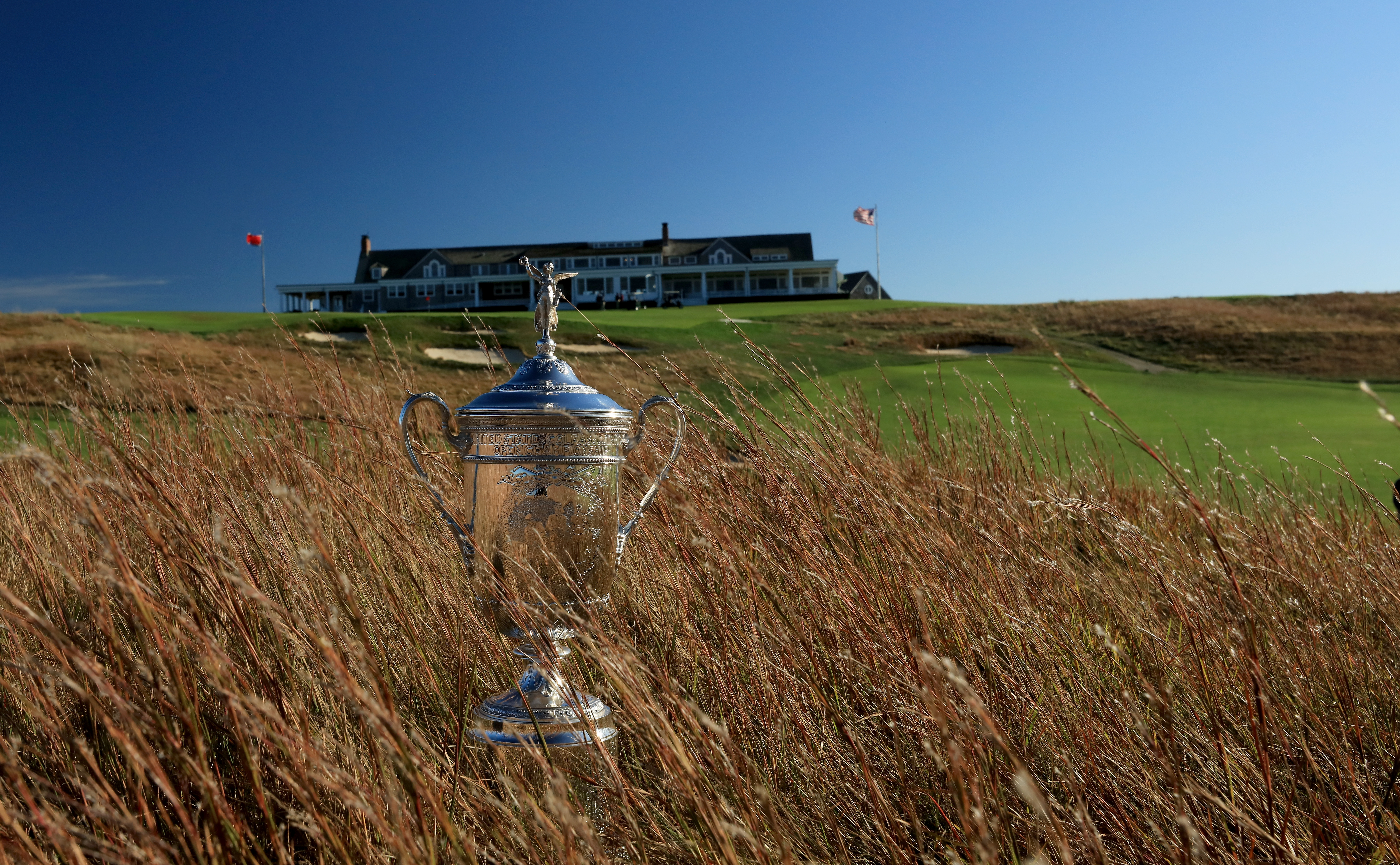 SOUTHAMPTON, NY - OCTOBER 04: EDITORS NOTE: Polarising filter used on the camera in this image; The United States Open trophy placed in the long grass beside the 18th hole at Shinnecock Hills Golf Club the host venue for the 2018 US Open Championship on October 4, 2017 in Southampton, New York. (Photo by David Cannon/Getty Images)