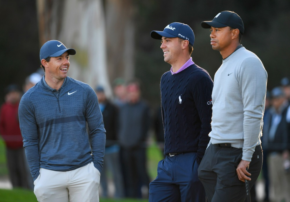 PACIFIC PALISADES, CA - FEBRUARY 15: (L-R) Rory McIlroy, Justin Thomas and Tiger Woods watch play on the tenth hole during the first round of the Genesis Open at Riviera Country Club on February 15, 2018 in Pacific Palisades, California. (Photo by Stan Badz/PGA TOUR)