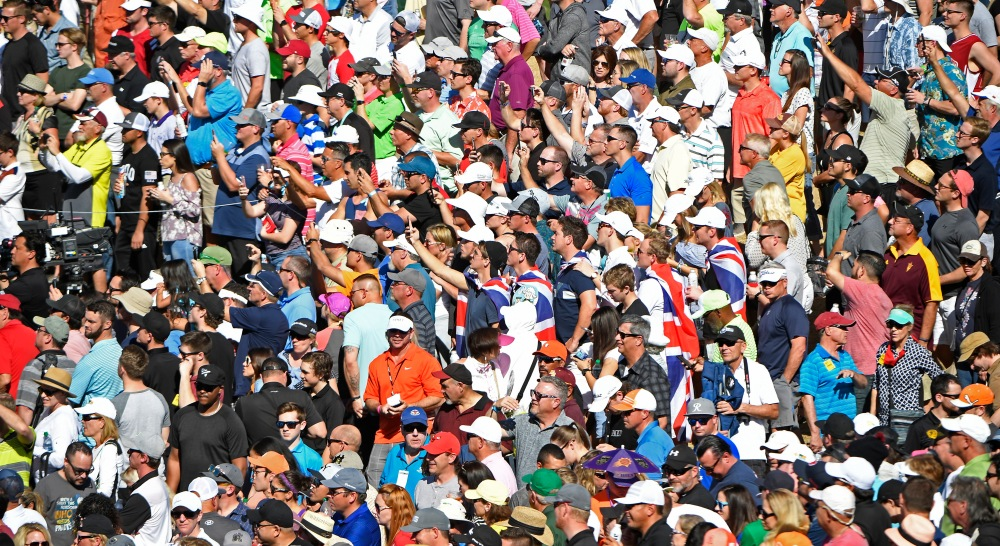 SCOTTSDALE, AZ - FEBRUARY 04: Fans watch the action on the 11th hole during the final round of the Waste Management Phoenix Open, at TPC Scottsdale on February 4, 2018 in Scottsdale, Arizona. (Photo by Chris Condon/PGA TOUR)